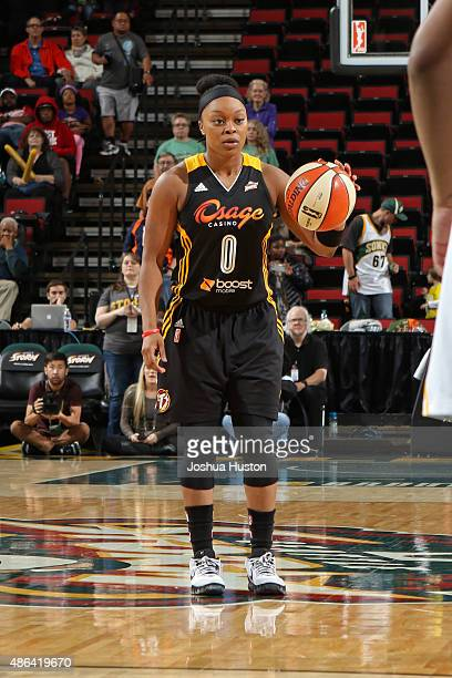 Odyssey Sims of the Tulsa Shock dribbles the ball up court against the Seattle Storm September 3 2015 at Key Arena in Seattle Washington NOTE TO USER...
