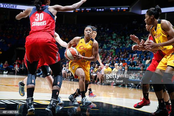 Odyssey Sims of the Tulsa Shock drives to the basket against the Washington Mystics in a WNBA game on July 21 2015 at the BOK Center in Tulsa...