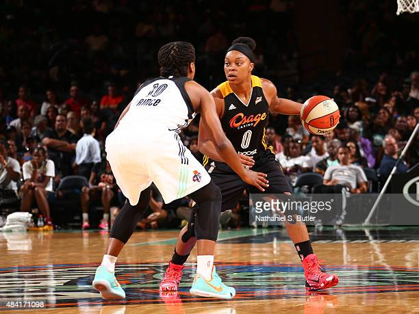 Odyssey Sims of the Tulsa Shock drives to the basket against the New York Liberty on August 15 2015 at Madison Square Garden New York City New York...