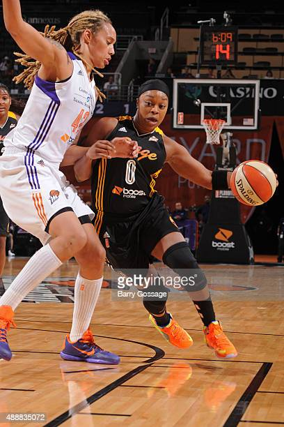 Odyssey Sims of the Tulsa Shock drives to the basket against the Phoenix Mercury during Game One of the WNBA Western Conference Semifinals on...