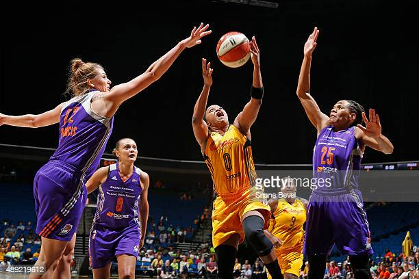Odyssey Sims of the Tulsa Shock drives to the basket against the Phoenix Mercury during Game Two of the WNBA Western Conference Semifinals on...