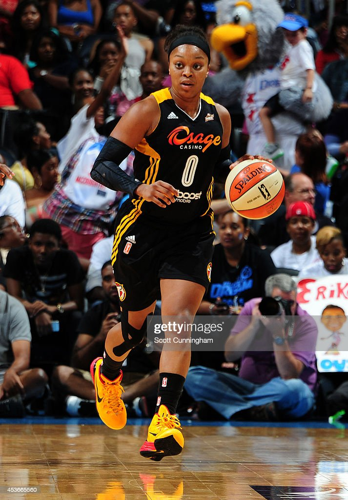<a gi-track='captionPersonalityLinkClicked' href=/galleries/search?phrase=Odyssey+Sims&family=editorial&specificpeople=7412276 ng-click='$event.stopPropagation()'>Odyssey Sims</a> #0 of the Tulsa Shock handles the ball against the Atlanta Dream on August 15, 2014 at Philips Arena in Atlanta, Georgia.