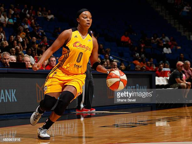 Odyssey Sims of the Tulsa Shock handles the ball against the Indiana Fever on August 30 2015 at the BOK Center in Tulsa Oklahoma NOTE TO USER User...