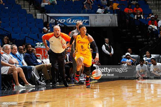 Odyssey Sims of the Tulsa Shock handles the ball against the Los Angeles Sparks in a WNBA game on July 11 2015 at the BOK Center in Tulsa Oklahoma...