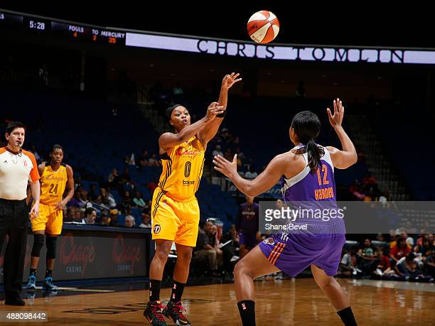Odyssey Sims of the Tulsa Shock passes the ball against the Phoenix Mercury on September 13 2015 at the BOK Center in Tulsa Oklahoma NOTE TO USER...