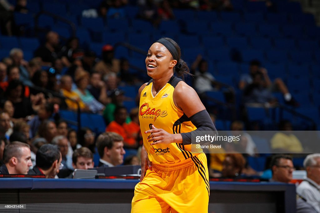 <a gi-track='captionPersonalityLinkClicked' href=/galleries/search?phrase=Odyssey+Sims&family=editorial&specificpeople=7412276 ng-click='$event.stopPropagation()'>Odyssey Sims</a> #0 of the Tulsa Shock reacts to a play against the Los Angeles Sparks in a WNBA game on July 11, 2015 at the BOK Center in Tulsa, Oklahoma.