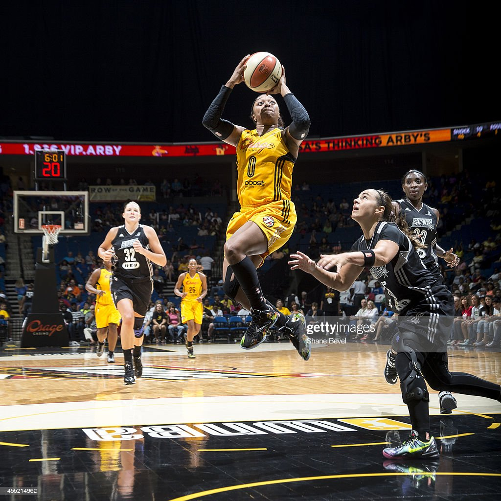 <a gi-track='captionPersonalityLinkClicked' href=/galleries/search?phrase=Odyssey+Sims&family=editorial&specificpeople=7412276 ng-click='$event.stopPropagation()'>Odyssey Sims</a> #0 of the Tulsa Shock shoots against Becky Hammon #25 of the San Antonio Stars during the WNBA game on August 8, 2014 at the BOK Center in Tulsa, Oklahoma.