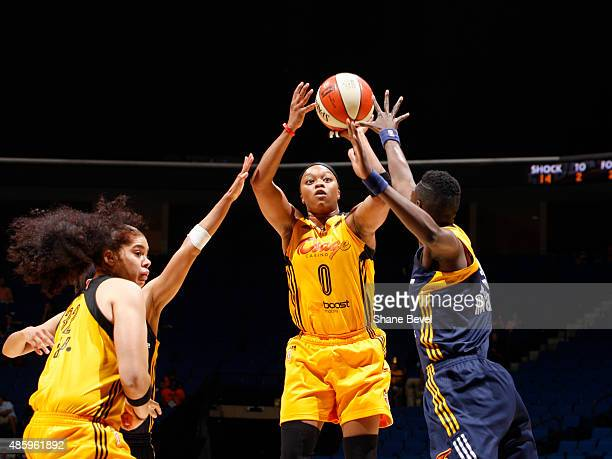 Odyssey Sims of the Tulsa Shock shoots the ball against the Indiana Fever on August 30 2015 at the BOK Center in Tulsa Oklahoma NOTE TO USER User...
