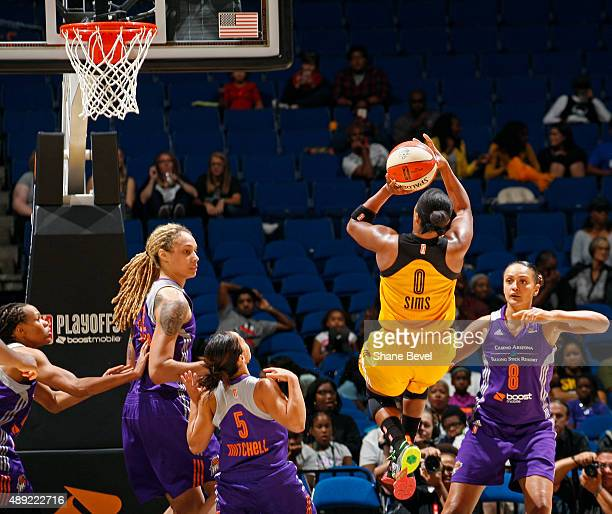 Odyssey Sims of the Tulsa Shock shoots the ball against the Phoenix Mercury during Game Two of the WNBA Western Conference Semifinals on September 19...