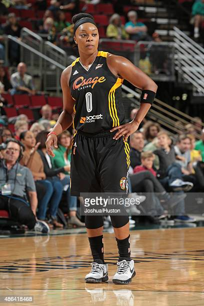 Odyssey Sims of the Tulsa Shock stands on the court during the game against the Seattle Storm on September 3 2015 at Key Arena in Seattle Washington...