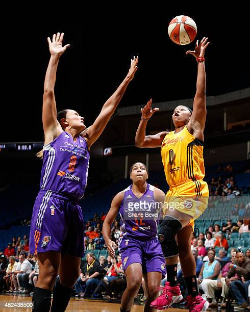 Odyssey Sims of the Tulsa Shock takes a shot against the Phoenix Mercury on July 30 2015 at the BOK Center in Tulsa Oklahoma NOTE TO USER User...