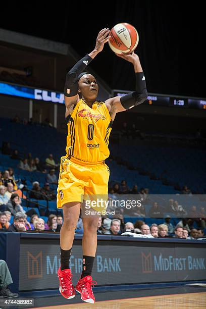 Odyssey Sims of the Tulsa Shock takes a shot against the San Antonio Stars during the WNBA game on May 22 2015 at the BOK Center in Tulsa Oklahoma...