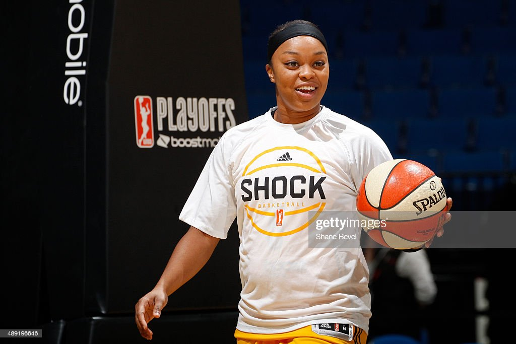 Odyssey Sims of the Tulsa Shock warms up before Game Two of the WNBA Western Conference Semifinals against the Phoenix Mercury on September 19 2015...