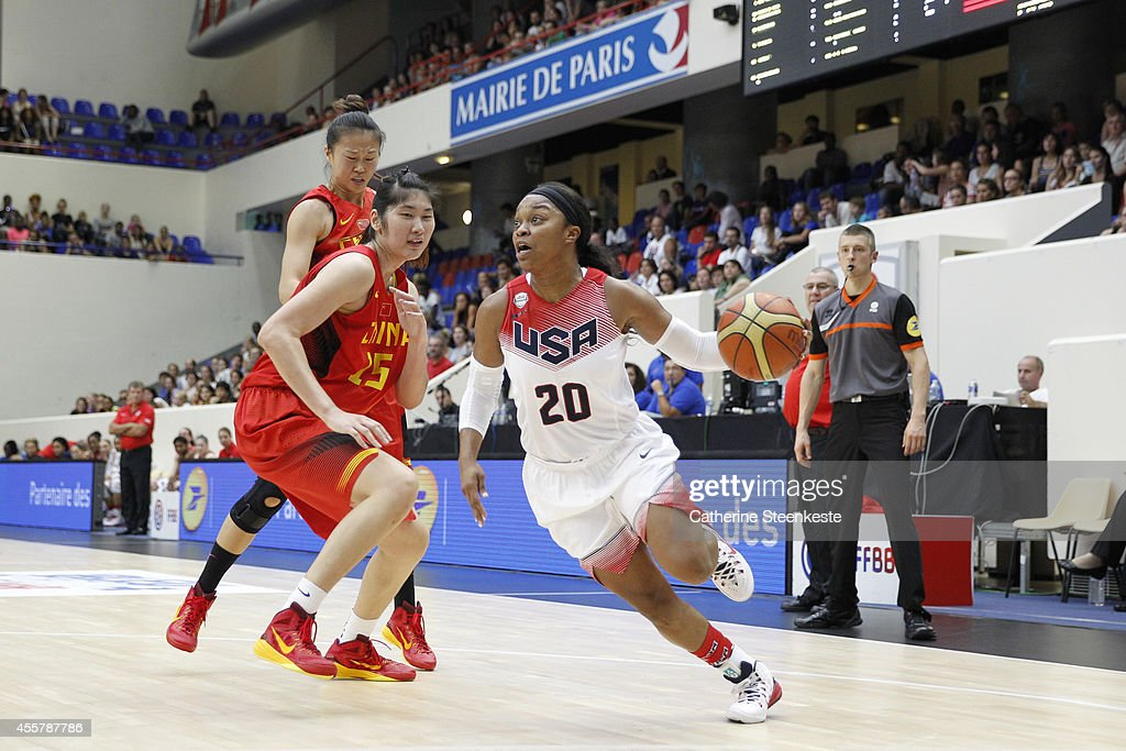 <a gi-track='captionPersonalityLinkClicked' href=/galleries/search?phrase=Odyssey+Sims&family=editorial&specificpeople=7412276 ng-click='$event.stopPropagation()'>Odyssey Sims</a> #20 of the USA Basketball Women's National Team drives to the basket against the Chinese Basketball Women's National Team during the game between China and USA at Stade Pierre de Coubertin on September 20, 2014 in Paris, France.