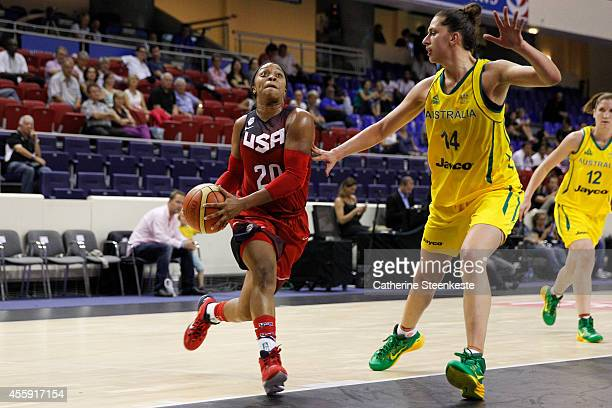 Odyssey Sims of the USA Basketball Women's National Team drives to the basket against the Australian Basketball Women's National Team during the game...