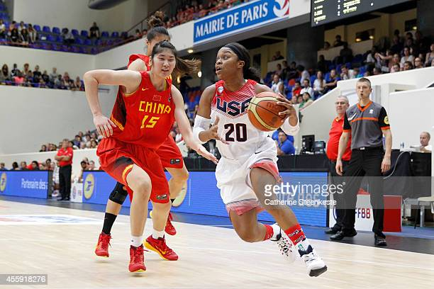 Odyssey Sims of the USA Basketball Women's National Team handles the ball against the Chinese Basketball Women's National Team during the game...