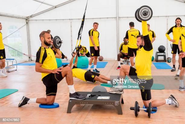Oemer Toprak and Gonzalo Castro of Borussia Dortmund in action during a training session as part of the training camp on July 29 2017 in Bad Ragaz...