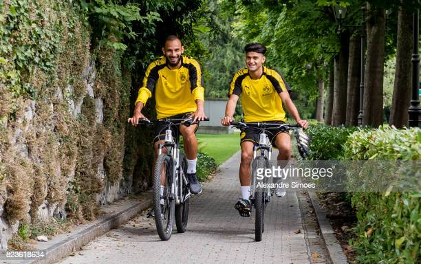 Oemer Toprak and Mahmoud Dahoud of Borussia Dortmund on their way to the next training session as part of the training camp on July 27 2017 in Bad...