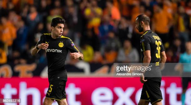 Oemer Toprak and Marc Bartra of Borussia Dortmund together during the UEFA Champions League group H match between APOEL Nikosia and Borussia Dortmund...