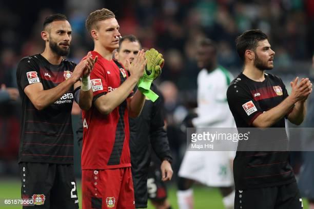 Oemer Toprak Bernd Leno and Kevin Volland of Leverkusen react after the Bundesliga match between Bayer 04 Leverkusen and Werder Bremen at BayArena on...