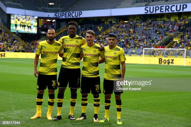 Oemer Toprak DanAxel Zagadou Macimilian Philipp and Mahmoud Dahoud pose as the new players during the Borussia Dortmund Season Opening 2017/18 at...
