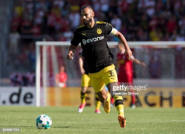 Oemer Toprak of Borussia Dortmund in action during the preseason friendly match between RotWeiss Erfurt and Borussia Dortmund at the...