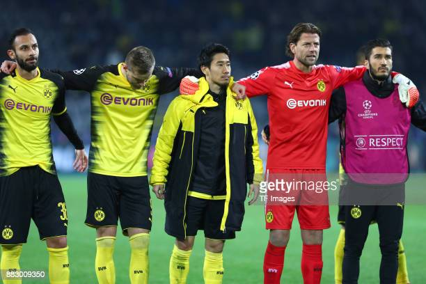 Oemer Toprak of Dortmund Andrey Yarmolenko of Dortmund Shinji Kagawa of Dortmund Goalkeeper Roman Weidenfeller of Dortmund and Nuri Sahin of Dortmund...