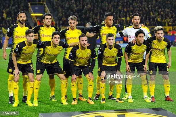 Oemer Toprak of Dortmund Sokratis of Dortmund Maximilian Philipp of Dortmund PierreEmerick Aubameyang of Dortmund Goalkeeper Roman Buerki of Dortmund...