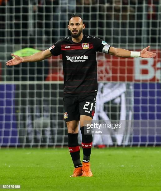 Oemer Toprak of Leverkusen gestures during the Bundesliga soccer match between Bayer Leverkusen and Werder Bremen at the BayArena stadium in...