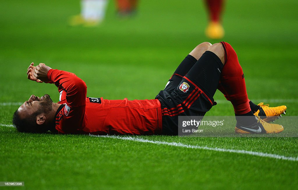 Oemer Toprak of LEverkusen lies injured on the pitch during the Bundesliga match between Bayer 04 Leverkusen and VfB Stuttgart at BayArena on March 2, 2013 in Leverkusen, Germany.