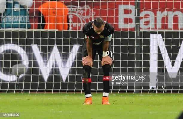 Oemer Toprak of Leverkusen looks dejected during the Bundesliga soccer match between Bayer Leverkusen and Werder Bremen at the BayArena stadium in...