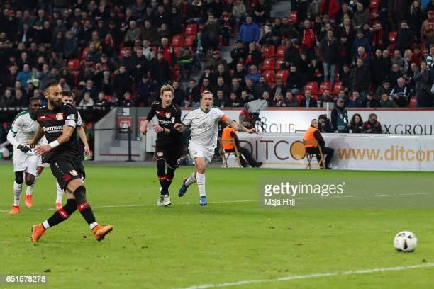 Oemer Toprak of Leverkusen misses a penalty shot during the Bundesliga match between Bayer 04 Leverkusen and Werder Bremen at BayArena on March 10...