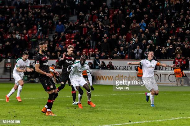 Oemer Toprak of Leverkusen reacts after missing penalty shot during the Bundesliga match between Bayer 04 Leverkusen and Werder Bremen at BayArena on...