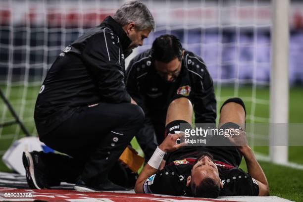 Oemer Toprak of Leverkusen receives treatment during the Bundesliga match between Bayer 04 Leverkusen and Werder Bremen at BayArena on March 10 2017...