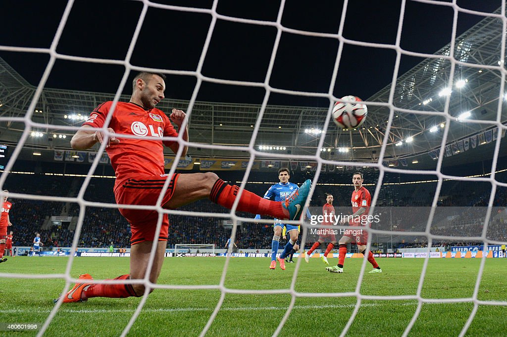 <a gi-track='captionPersonalityLinkClicked' href=/galleries/search?phrase=Oemer+Toprak&family=editorial&specificpeople=5395932 ng-click='$event.stopPropagation()'>Oemer Toprak</a> of Leverkusen saves the ball on the line during the Bundesliga match between 1899 Hoffenheim and Bayer 04 Leverkusen at Wirsol Rhein-Neckar-Arena on December 17, 2014 in Sinsheim, Germany.