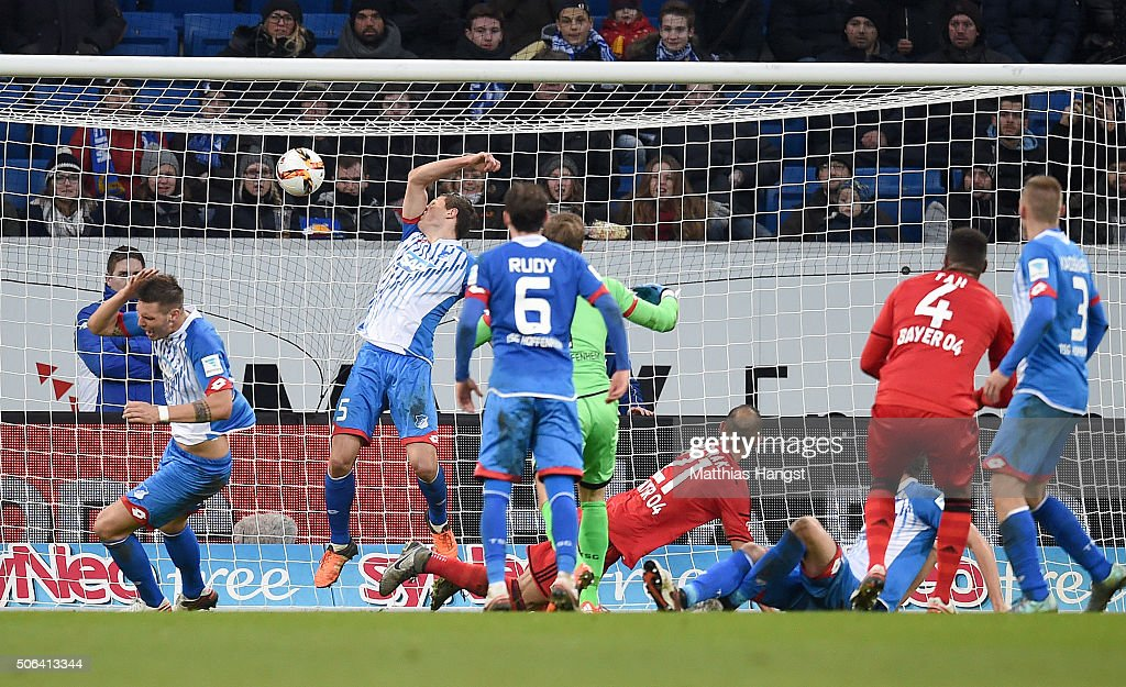 <a gi-track='captionPersonalityLinkClicked' href=/galleries/search?phrase=Oemer+Toprak&family=editorial&specificpeople=5395932 ng-click='$event.stopPropagation()'>Oemer Toprak</a> of Leverkusen scores his team's first goal during the Bundesliga match between 1899 Hoffenheim and Bayer Leverkusen at Wirsol Rhein-Neckar-Arena on January 23, 2016 in Sinsheim, Germany.