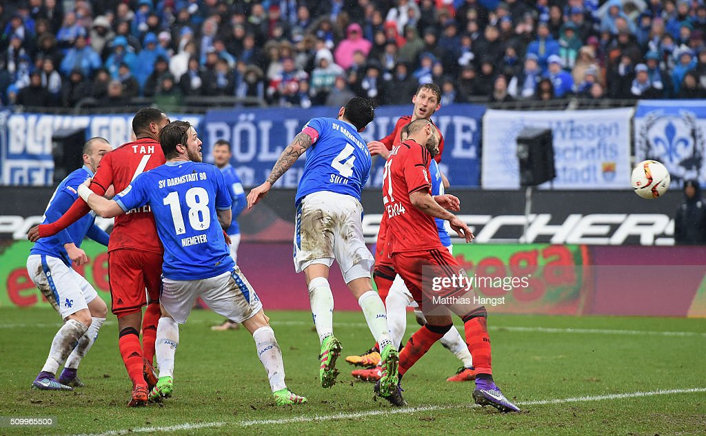 Oemer Toprak of Leverkusen scores his team's first goal during the match between SV Darmstadt 98 and Bayer Leverkusen at Merck-Stadion am Boellenfalltor on February 13, 2016 in Darmstadt, Germany.