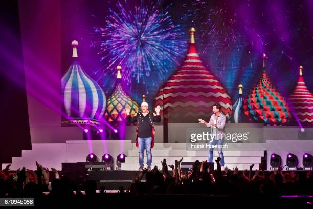 DJ Oetzi and Florian Silbereisen perform live during the show 'Das grosse Schlagerfest' at the MercedesBenz Arena on April 20 2017 in Berlin Germany