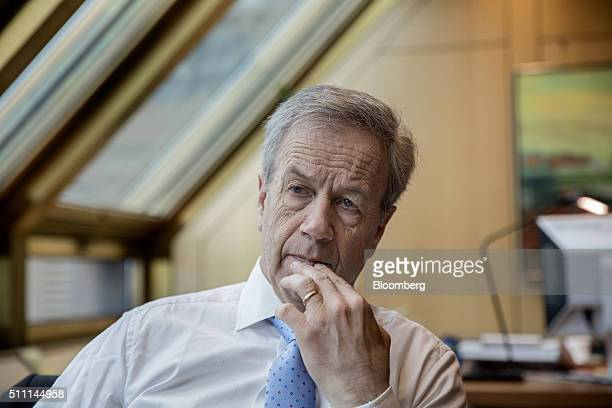 Oeystein Olsen governor of Norway's central bank also known as Norges Bank pauses during an interview at the bank's headquarters in Oslo Norway on...