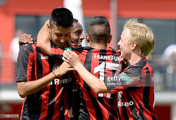 Oezguer Oezdemir of Frankfurt celebrates after scoring his team's second goal during the A Juniors match between Eintracht Frankfurt and FC Bayern...