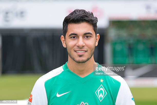 Oezkan Yildirim poses during the official team presentation of Werder Bremen at Weserstadion on July 10 2015 in Bremen Germany