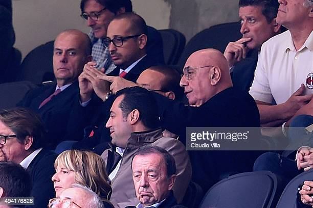 CEO of AC Milan Adriano Galliani reacts during the Serie A match between AC Milan and US Sassuolo Calcio at Stadio Giuseppe Meazza on October 25 2015...