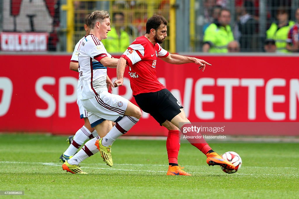 of Admir Mehmedi of Freiburg scores his first team goal during the Bundesliga match between Sport Club Freiburg and FC Bayern Muenchen at Schwarzwald-Stadion on May 16, 2015 in Freiburg im Breisgau, Germany.