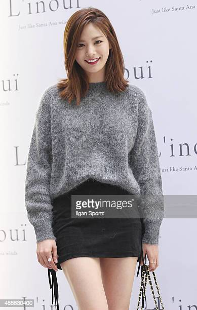NANA of After School poses for photographs during the celebration of 2nd annivarsary of store of Linoui at Lotte Department Store on September 11...