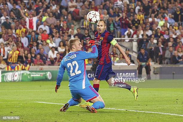 of Ajax Andres Iniesta of FC Barcelona during the group F Champions League match between Barcelona and Ajax Amsterdam on October 21 2014 at Camp Nou...