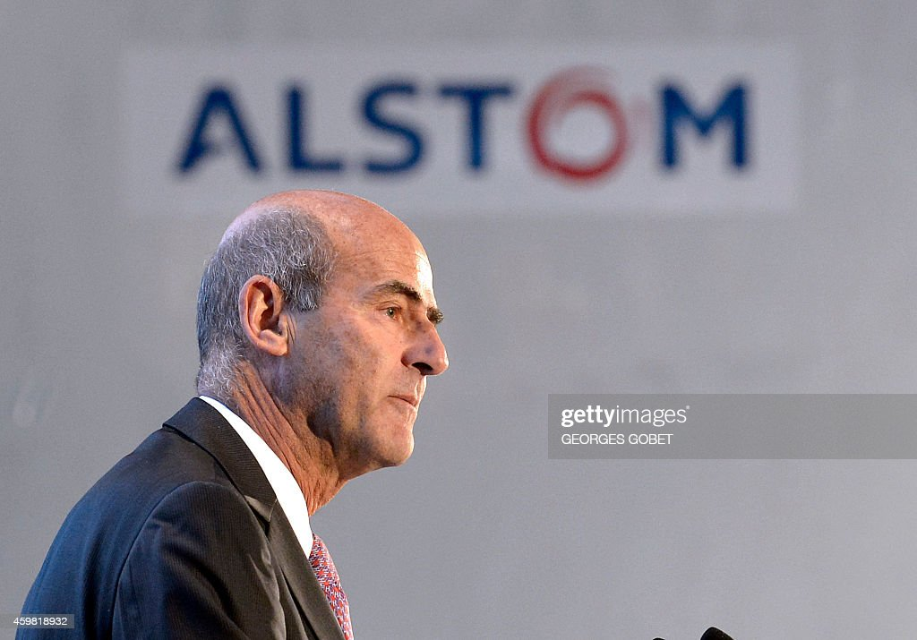 CEO of Alstom Patrick Kron delivers a speech during the visit by French Prime minister of two Alstom plants in MontoirdeBretagne near Saint Nazaire...