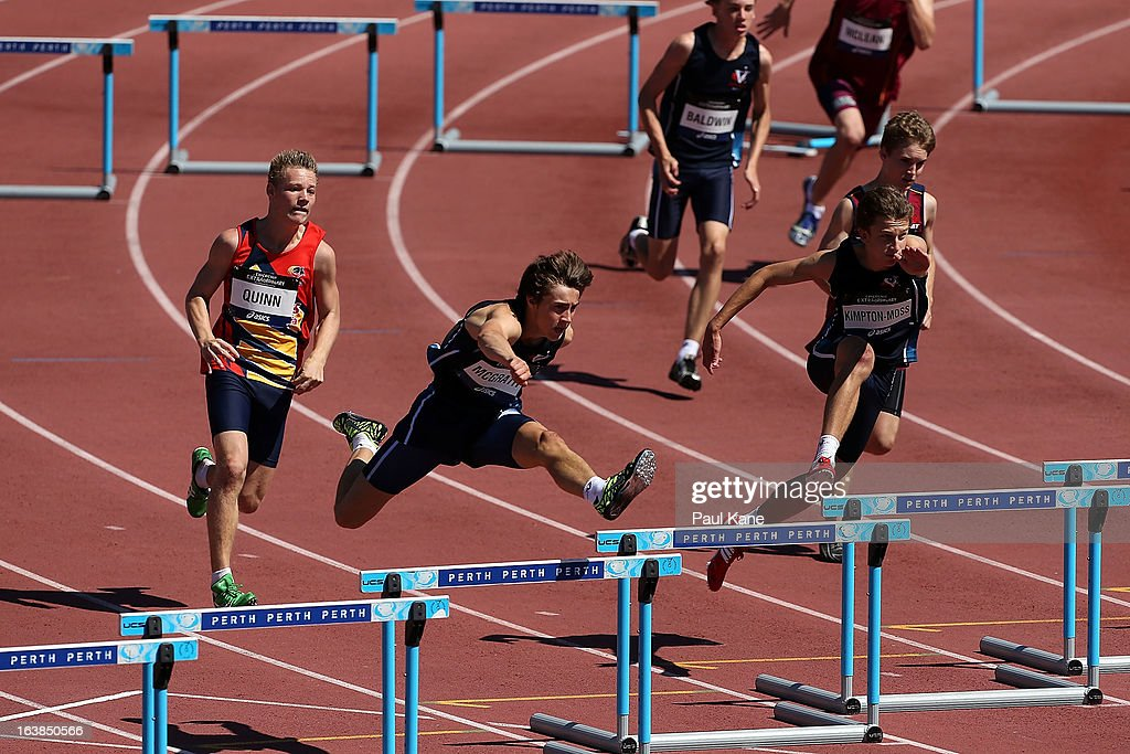 of Andrew McGrath of Victoria competes in the mens u15 200 metre hurdles final during day six of the Australian Junior Championships at the WA Athletics Stadium on March 17, 2013 in Perth, Australia.