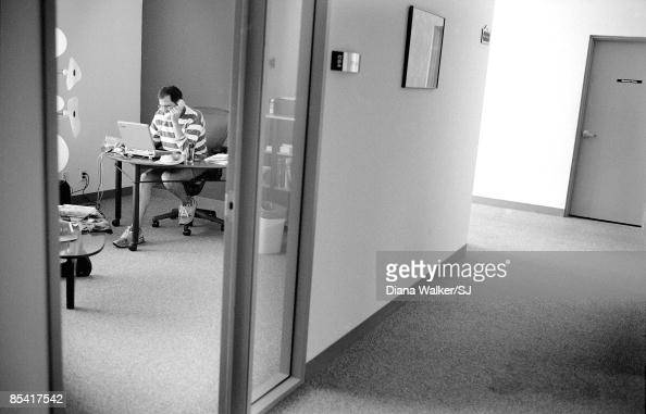 CEO of Apple Steve Jobs in his office at the Pixar building August 1997