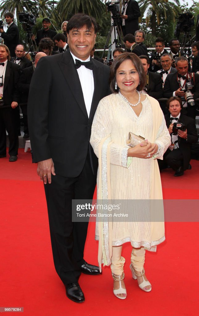 CEO of ArcelorMittal Lakshmi Mittal and wife Usha Mittal attends the 'You Will Meet A Tall Dark Stranger' Premiere held at the Palais des Festivals...