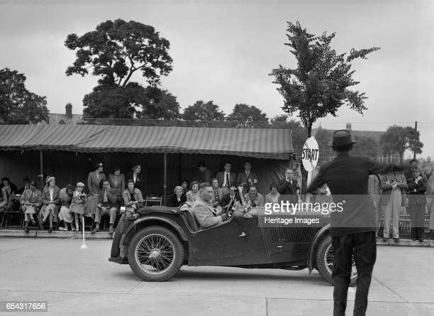 MG TA of Archie Langley of the Musketeers team at the South Wales Auto Club Welsh Rally 1937 Artist Bill Brunell MG TA 1936 1292 cc Event Entry No...